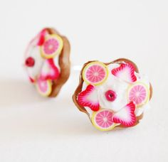 Fruit tart Earring studs Fake bakery posts by timeforteabeads, $10.00