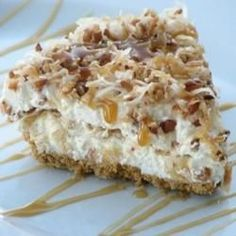 Coconut caramel Drizzle Pie. Best pie I have EVER made. 2-9 graham crusts  Toast in frypan 6 T. butter  7 oz coconut  and 1 c. pecans  stir 5 mins. Mix together: 14oz can sweetened cond  milk  8 oz. cream cheese  fold in 16 oz. cool whip. Put 1/4 mixture in each pie crust. top with 1/4 of a 12oz. can of carmel topping .....repeat. top with coconut and pecans Freeze...