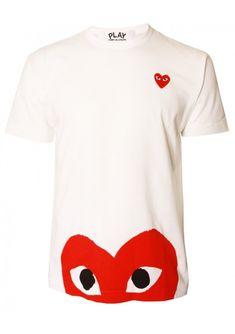 Comme Des Garcons | PLAY Mens Red Heart Hem T Shirt White | Buy Comme Des Garcons Play Clothing Online at Hervia.com #hervia #commedesgarcons
