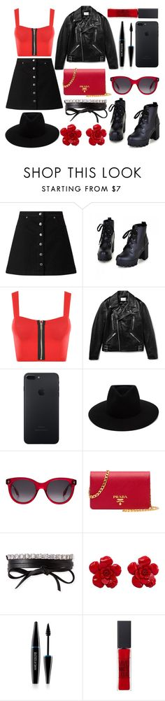 """""""Demon"""" by painteronion ❤ liked on Polyvore featuring Miss Selfridge, Colorful Shoes, WearAll, Sandro, rag & bone, Alexander McQueen, Prada, Fallon, Chanel and MAKE UP FOR EVER"""