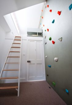 climbing wall access to loft bed  I JUST FREAKED OUT. THIS WOULD BE EPIC! :D