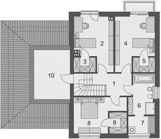 Projekt Domena 311 B 147,76 m2 - koszt budowy 225 tys. zł - EXTRADOM Floor Plans, Projects, Floor Plan Drawing, House Floor Plans
