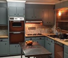 Mid century modern ranch kitchen update. When it isn't in the budget to update appliances, make the colors work for you!!! Retro Brown appliances look okay! I'm proud of this temp / permanent for awhile facelift! 1960's appliances