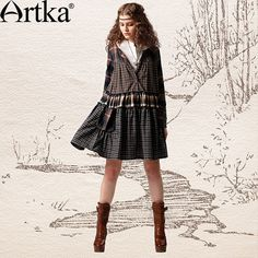 Cheap Dresses on Sale at Bargain Price, Buy Quality cotton poplin dress, dress pants short women, cotton tunic dress from China cotton poplin dress Suppliers at Aliexpress.com:1,Size:M, L 2,Pattern Type:Plaid 3,Brand Name:Artka 4,clothes design details:patchwork 5,style:others style