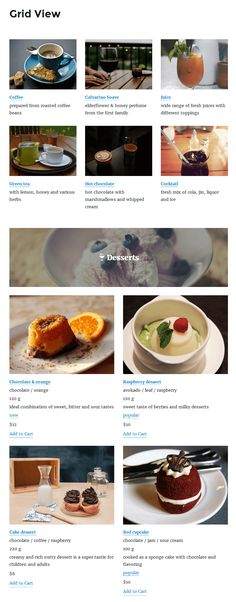 restaurant menu by motopress plugin grid view