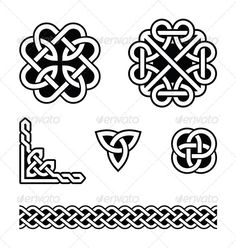 Celtic knots patterns - vector  #GraphicRiver         Set od traditional Celtic symbols, knots, braids in black and white  	 FEATURES:   100% Vector Shapes  All groups have names  All elements are easy to modify – you can change coulours, size  Pack include version AI, EPS, JPG      Created: 4February13 GraphicsFilesIncluded: JPGImage #VectorEPS #AIIllustrator Layered: Yes MinimumAdobeCSVersion: CS Tags: ancient #art #black #border #braid #braided #celtic #corner #culture #design #element…