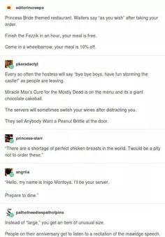 Princess Bride themed restaurant - I need this in my life.