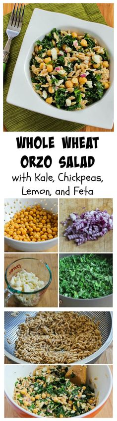 Whole Wheat Orzo Salad with Kale, Chickpeas, Lemon, and Feta.  I love the use of 100% whole wheat orzo in this salad, but you can also make with brown rice for a gluten-free version.  [from KalynsKitchen.com]