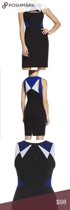 Bcbg Karin color blocked cutout sheath dress Brand New! Crew neck with slit cutout at bustline. Color block detailing on bodice front and back. Back zipper closure center back bent at hem. Measures approx. 37.5 in. Shoulder to hem. Hits above knee. Form fitting silhouette. Fully lined. 63% polyester, 32% rayon, 5% spandex. Machine washable. Actual color as shown in cover shot. BCBGMaxAzria Dresses Mini