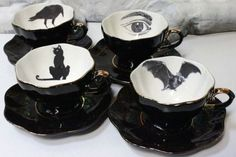 Cat and raven coffee toppers for Poe collection