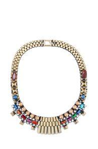 From : forwardbyelysewalker.com     Designer : Iosselliani      * Rolex Chain Bib Stud Necklace in Multi *