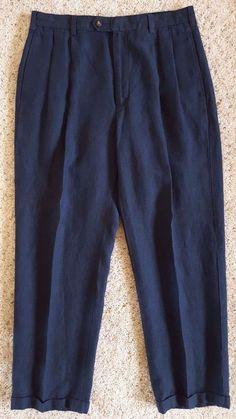 JOS a BANK Linen PANTS 33 30 Blue NAVY Pleated TROUSER Size MENS Sz Men BUTTONS* #JosABank #CasualPants