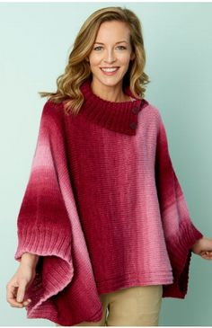 The Napa Rib Collar Poncho features shaded yarn and an easy-to-wear style that will keep you warm and looking great. This free knitting pattern is written in three sizes, so you can adjust the poncho accordingly. Free Knitting Patterns For Women, Poncho Knitting Patterns, Knitted Poncho, Shawl Patterns, Crochet Cape, Crochet Shirt, Crochet Vests, Poncho Design, Poncho With Sleeves