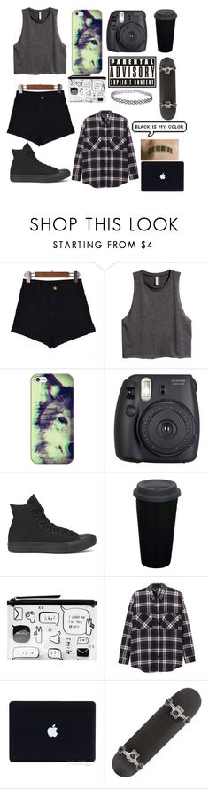 """Black is my colour"" by niamhwillcox ❤ liked on Polyvore featuring H&M, Casetify, Fuji, Converse, Monki and Miss Selfridge"