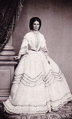 Elisabeth of Austria (Sissi) in a polka-dotted dress, Victorian Era, Victorian Fashion, Vintage Fashion, Victorian Women, Vintage Clothing, Vintage Dresses, Vintage Outfits, Crinoline Dress, Elisabeth I