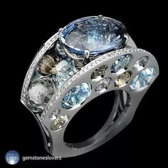 repost from @gemstoneslovers Lorenz Baumer Piège ring. A beautiful tanzanite gemstone setted on a white gold futurist design ring. ⠀⠀⠀⠀⠀⠀