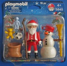 Playmobil 5845 Santa Claus and Snowman by Playmobil. $24.95. Santa and snow man. Santa's bag. Toys to put into bag. This is a brand new in the package - Playmobil Christmas figure set.    Playmobil #5845 16 pcs Santa, Snowman, Toy bag and toys Ages: 4+