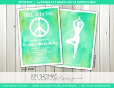 Yoga Birthday Invitation - Printable Girl Birthday Invitation - Peace Love Yoga - Peace Sign Party Invitation - Watercolor - BD195 by KMThomasDesigns on Etsy
