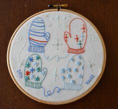 New Free Embroidery Pattern - Mitten Wonderland! (Under the Red Umbrella) Machine Embroidery Projects, Embroidery Patterns Free, Embroidery Hoop Art, Cross Stitch Embroidery, Cross Stitch Patterns, Embroidery Designs, Cross Stitching, Stitch Witchery, Cross Stitch Books