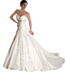 Faironly J5 White Ivory Sweetheart Wedding Dress Bride Gown --- This is a beautiful wedding gown! It is a ball gown wedding dress with a sweetheart neckline and a chapel train. Only $160.00