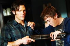 Jared Padalecki and Jake Abel as Sam Winchester and his younger half-brother Adam Milligan.