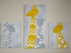 Giraffe paintings set of 3 yellow and gray by LolliArt on Etsy, $105.00