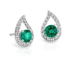 Blue Nile Emerald and Pavé Diamond Teardrop Earrings in 18k White Gold