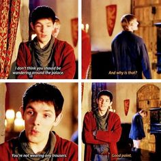 I love Merlin's face at the end of this,it's like he won the battle and he knows it.