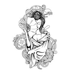 Geisha with floral on VectorStock