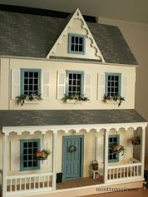miniature dolls Vermont Farmhouse Junior Dollhouse with cadet blue windows & door--perfect doll house! Dollhouse Kits, Victorian Dollhouse, Dollhouse Dolls, Dollhouse Miniatures, Dollhouse Windows, Miniature Crafts, Miniature Houses, Miniature Dolls, Miniature Furniture
