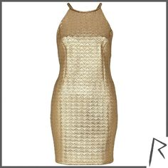 River Island Gold Rihanna embossed racer front dress ($17) ❤ liked on Polyvore featuring dresses, sale, low back short dress, low back cocktail dress, low cut back dress, short gold dresses i low back mini dress