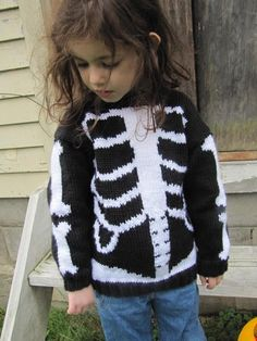 Dem Bones knitting sweater design by Eileen Casey - perfect for all your little pumpkins out there this Halloween! Sweater Knitting Patterns, Knit Patterns, Knitting For Kids, Baby Knitting, Sweater Design, Yarn Crafts, Diy Crafts, Baby Sweaters, Baby Halloween