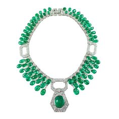 David Webb Designed Necklace of Diamonds, Emeralds and Platinum, Plain to See It's Perfection.