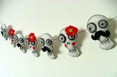 Day of the Dead Mexican Sugar Skull Garland by TheDollCityRocker, $50.00