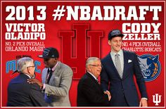Congratulations to Victor Oladipo and Cody Zeller! The two made history for Indiana Basketball again at last night's 2013 NBA Draft! Victor Oladipo was drafted by the Orlando Magic as the second overall pick and Cody Zeller was drafted by the Charlotte Bobcats as the fourth overall pick. This is the first time in school history that IU has had 2 players picked among the top 5 in the NBA Draft. Go Hoosiers!