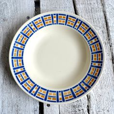 French Vintage Art Deco Ironstone Blue & Yellow Stencilware Dish Bowl…