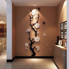 Plum fleur 3d en trois dimensions Cristal Acrylique stickers muraux chambre salon entrée fond décorations murales dans Stickers muraux de Maison & Jardin sur AliExpress.com | Alibaba Group