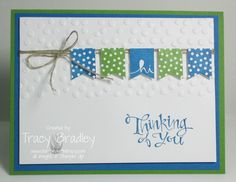 Cute card made with the banner punch from Stampin' Up!     www.stampingwithtracy.com