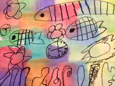 Klee inspired fish made with wet tissue paper.  When the tissue dries, it is peeled off.
