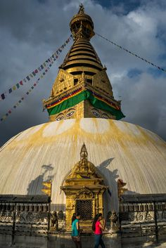 Sunset over the Buddhist stupa of Swayambhunath, more commonly known as the Monkey temple, in Kathmandu, Nepal. A top sight in Kathmandu for travelers!