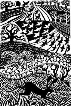 Carry Akroyd's fabulous lino cuts….great example of textures specific to areas of image Linocut Prints, Art Prints, Block Prints, Illustration Art, Illustrations, Linoprint, Poster Design, Scratchboard, Arte Popular