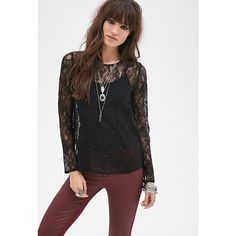 Forever 21 Women's  Floral Lace Blouse ($18) ❤ liked on Polyvore featuring tops, blouses, sheer blouse, black button up blouse, black sheer blouse, sheer long sleeve blouse and lace blouse