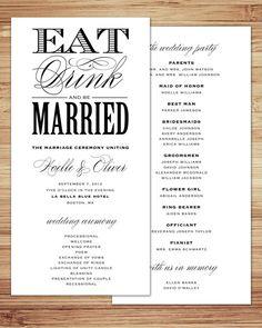 Eat Drink And Be Married Wedding Reception Dinner Menu Card Dark