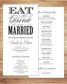 Be Married Wedding Program by fineanddandypaperie on Etsy, $25.00