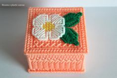 Plastic canvas Jewelry box peach with white flower,gifts women, jewelry box…