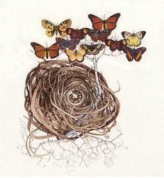 butterfly tree caterpillar nest original by atticEditions on Etsy, $250.00