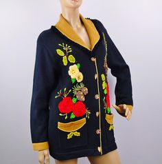 Storybook Knits Cardigan Sweater Holiday Floral Vintage 1990s Women s Size  Medium 5dbcfac5c