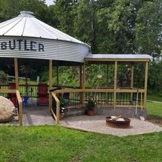Building a gazebo from a grain bin Living the Country Life Outdoor Rooms, Outdoor Living, Outdoor Decor, Outdoor Projects, Outdoor Ideas, Outdoor Fire, Outdoor Kitchens, Backyard Projects, Silo House