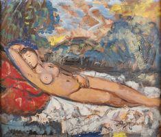 TYMON NIESIOŁOWSKI (1882 - 1965)  AKT LEŻĄCY, 1963   olej, płótno / 54 x 65 cm