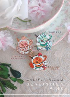 Apr 2020 - SereniTEA Mini Pin Collection — califlair Little Presents, Jacket Pins, Cool Pins, Pin And Patches, Metal Pins, Pin Badges, Lapel Pins, Pin Collection, Creations